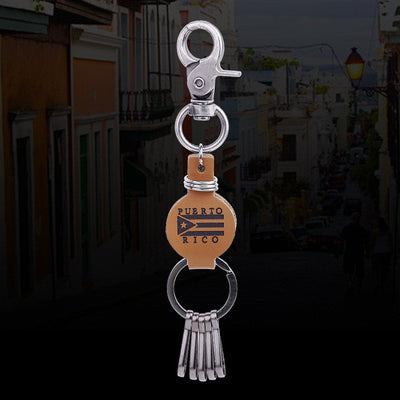Puerto Rico Flag Key-Chain Leather and Metal