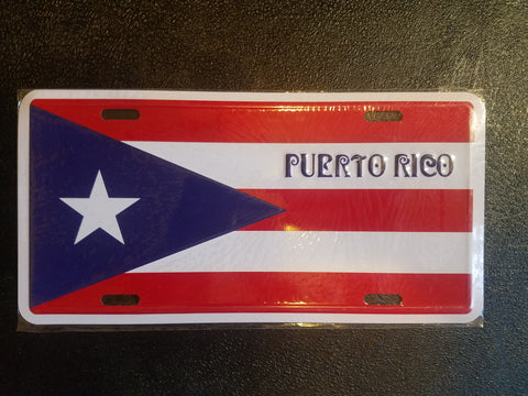 Puerto Rico Flag License Plate.
