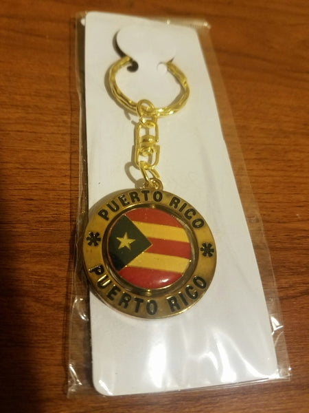"Puerto Rico Flag Key Chain ""Spinner"" Gold"