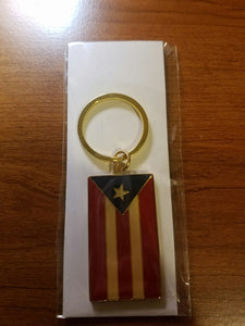 Puerto Rico Gold Flag Solid Metal Key Chain.