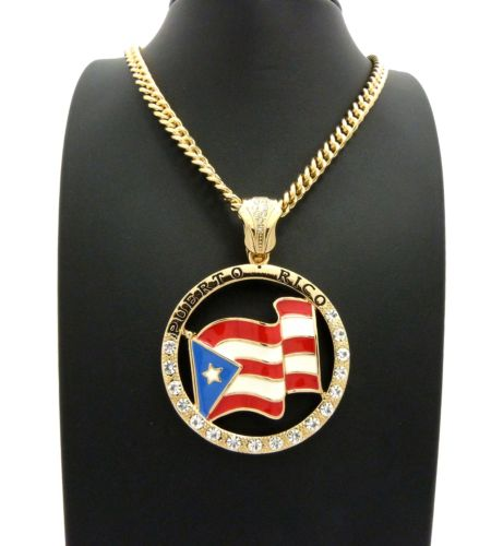 PUERTO RICO FLAG PENDANT CUBAN LINK NECKLACE