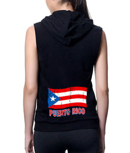 Puerto Rico Flag Grunge Black Fleece Zipper Vest Hoodie