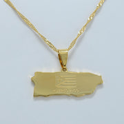 Map of Puerto Rico Pendant Necklace Jewelry Gold Color