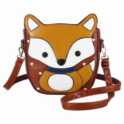 Women Cartoon Fox Campus Womens Bag small Shoulder Leather handbag New Arrival