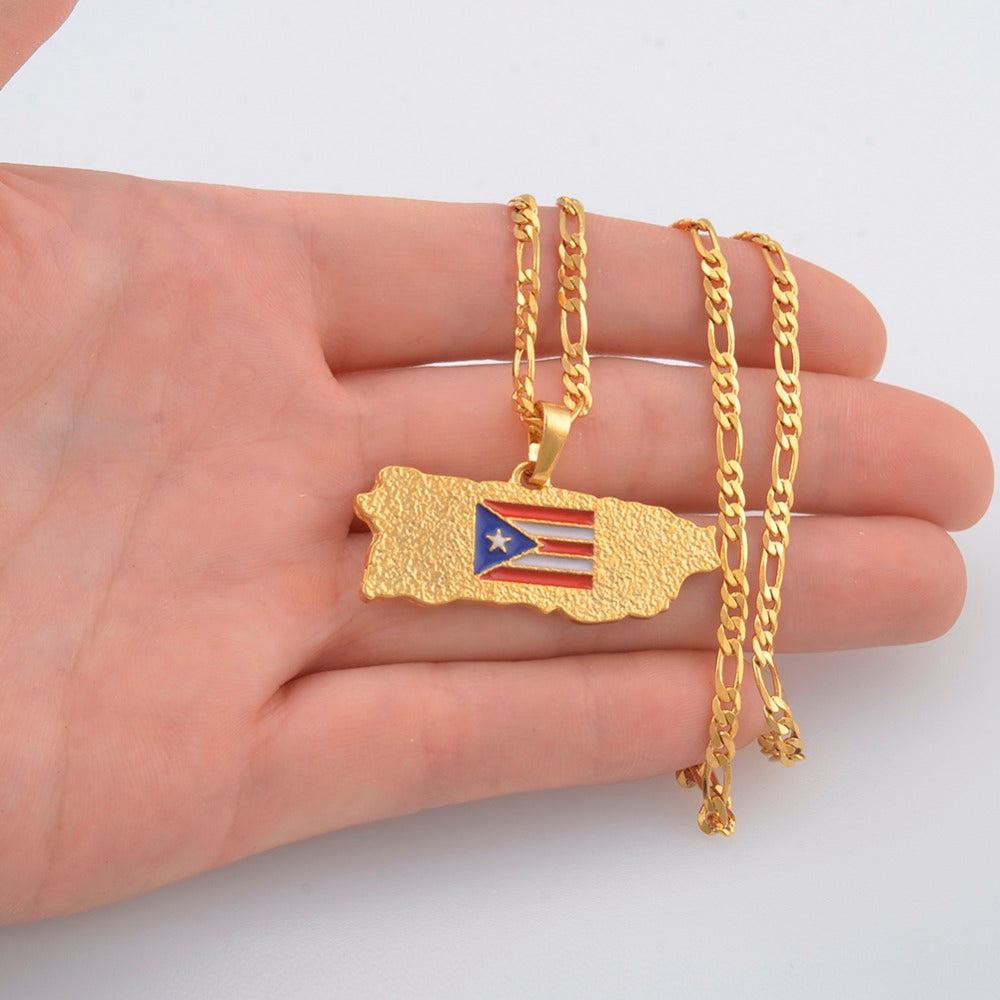 Puerto Rico Map Flag Pendant Necklaces for Women/Men Gold Color
