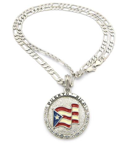 FIGARO LINK 24' Puerto Rico Flag Necklace-Pendant SILVER-Gold Color