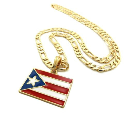 "Figaro Link 24"" inches Puerto Rico Flag Necklace-Pendant."