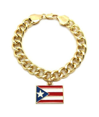 PUERTO RICO FLAG PIECE w/10mm LINK BRACELET GOLD PLATED