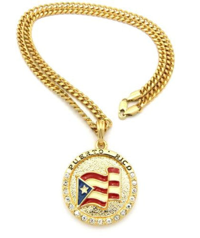 "Puerto Rico Flag Necklace-Pendant Cuban-Figaro Link 24"" Gold/Silver Color"