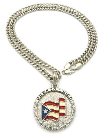 "Cuban Link 24"" Puerto Rico Flag Necklace-Pendant Silver Color"