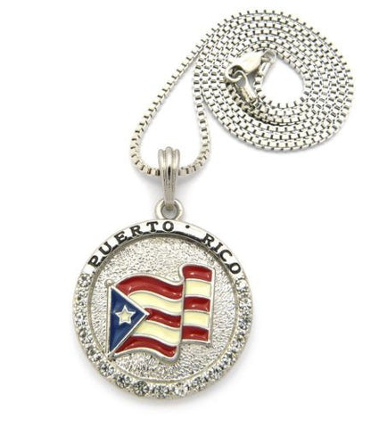 "Puerto Rico Flag Necklace Pendant 2mm/24"" Silver Color"