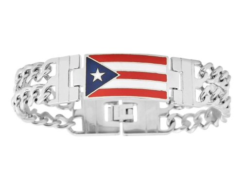 Puerto Rico Flag Surgical Stainless Steel Bracelet
