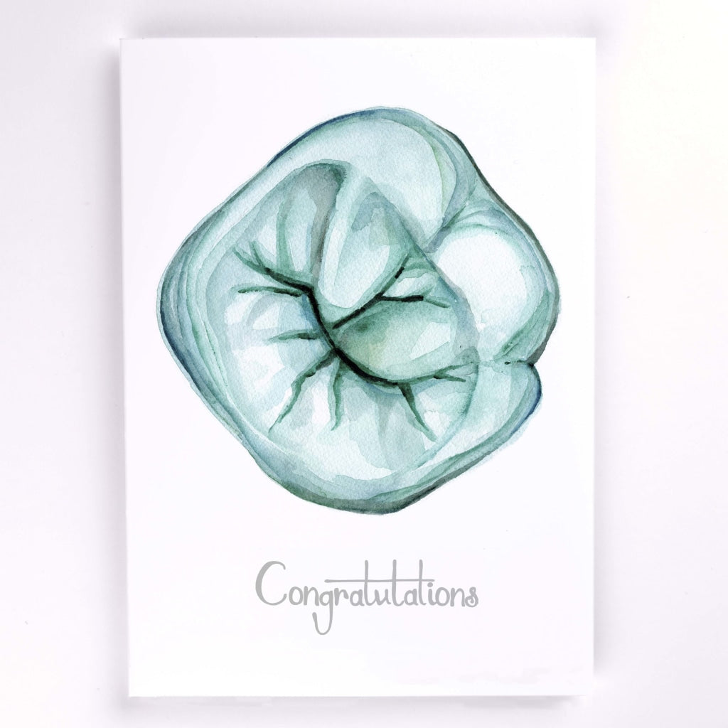 Molar in Aqua Stationery Dental Greeting Card