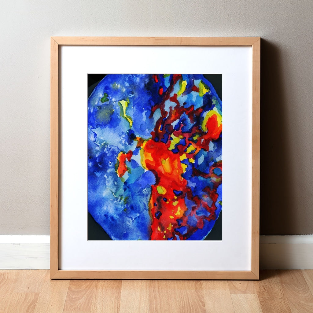 Brain Perfusion Scan Watercolor Print