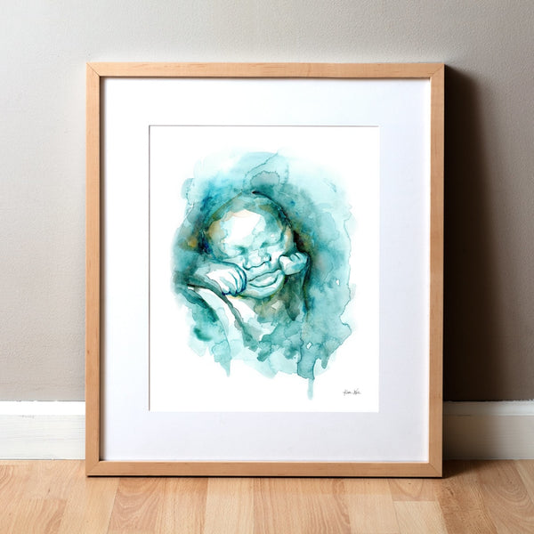 3D Ultrasound Watercolor Print