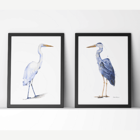 Heron and Egret Print Set