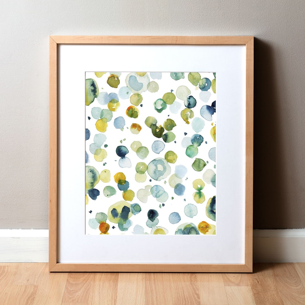 Blood Cells in Green Watercolor Print