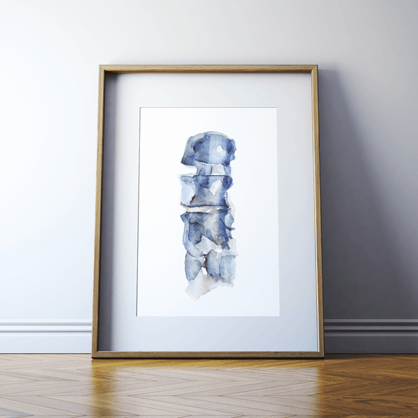 Framed blue spine watercolor print.