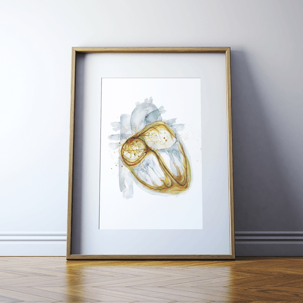 Electric Pathways Heart Watercolor Print