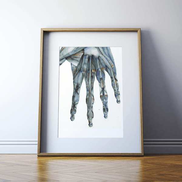Hand Anatomy in Green Print