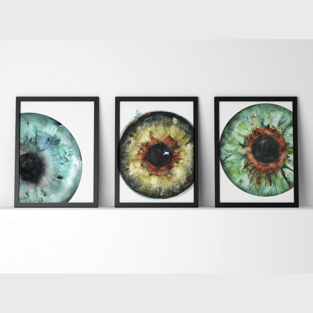 Blue, Hazel and Green Iris Print Set