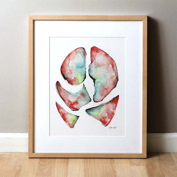 Lungs in Teal, Green and Red Print