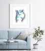 Framed Watercolor Print Mother With Child Hanging In Living Room