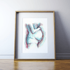 Framed Watercolor Print Mother With Child