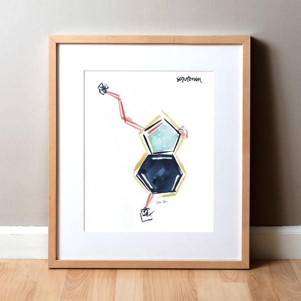 Serotonin Watercolor Print - Happy Hormones