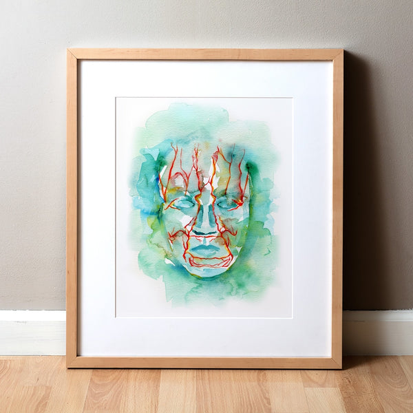 Facial Vasculature Watercolor Print