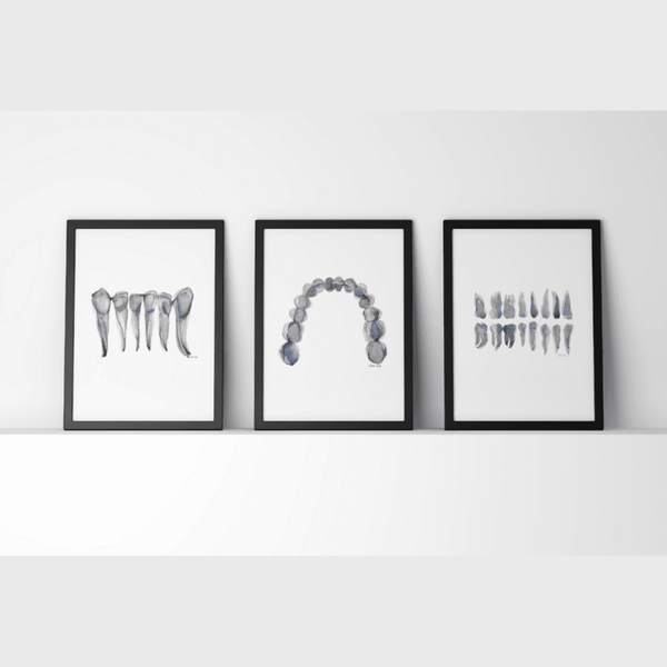 Blue Gray Dental Print Set