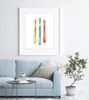 Toothbrushes Watercolor Print
