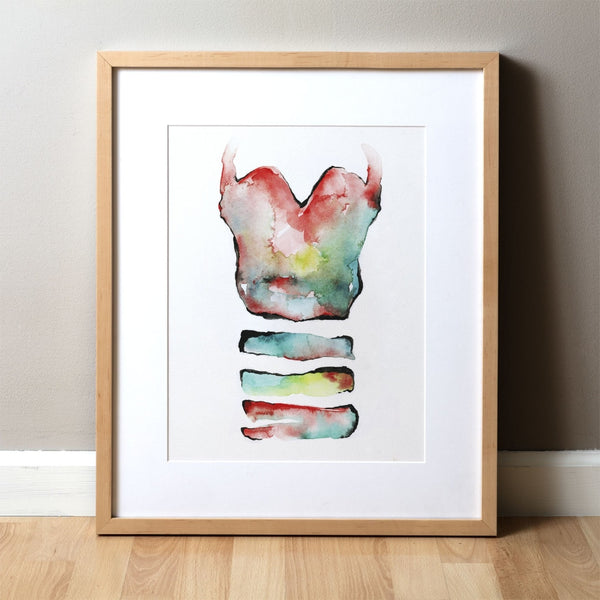 Trachea in Teal, Green and Red Print