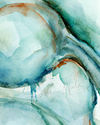 Abstract Uterus in Teal Watercolor Print