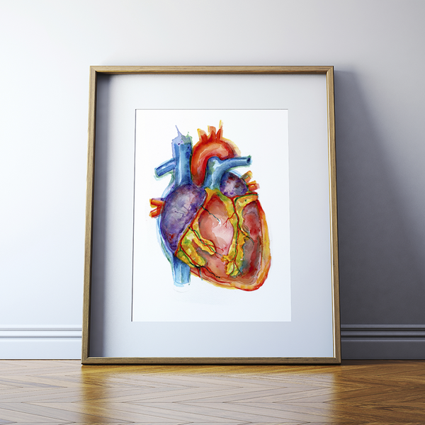 Vibrant Heart Watercolor Print