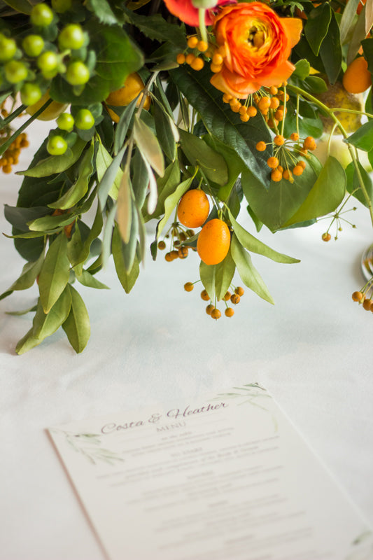 flowers and fruits as centerpiece