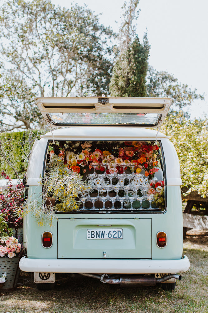 Flowers arranged inside the Van