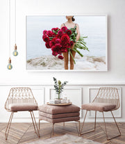 Red Peony and Dahlia Photographic Print