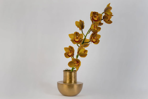 Brass Vase with Orchid Plant Arrangement