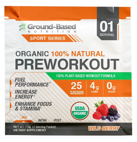 Organic Pre Workout - Single Serving (Wild Berry) - Plant Based Protein