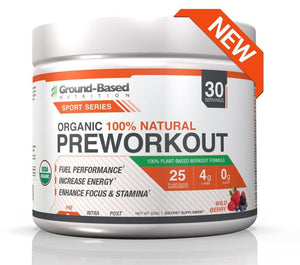 Organic Pre Workout - 30 Servings (Wild Berry) - Plant Based Protein