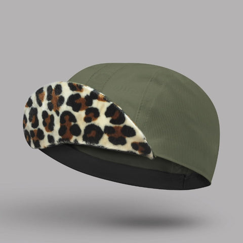 BELLO Cycling Cap - Cleopatra - Khaki With Plush Leopard Peak