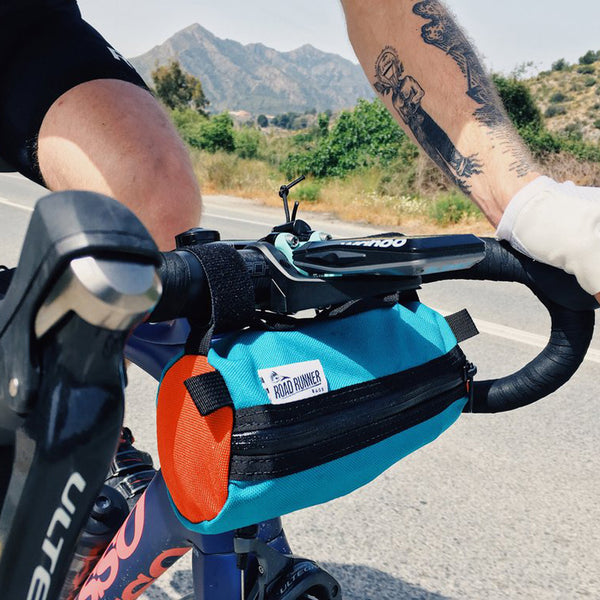 ROAD RUNNER - Burrito Handlebar Bag - Orange/Teal Cordura