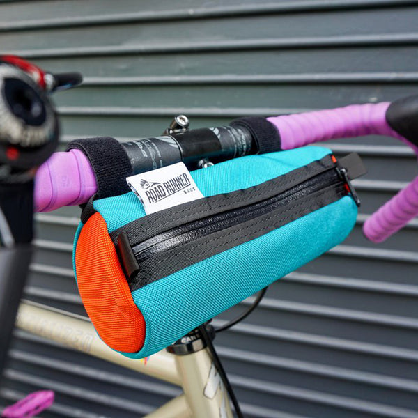 ROAD RUNNER - Burrito Handlebar Bag - Teal/Orange Cordura