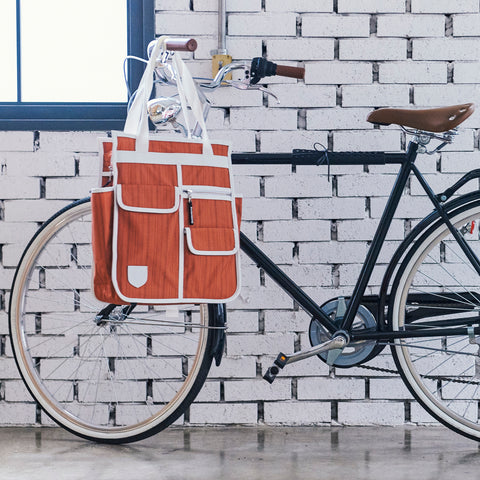 GOODORDERING Market Shopper Bicycle Pannier Bag - Orange