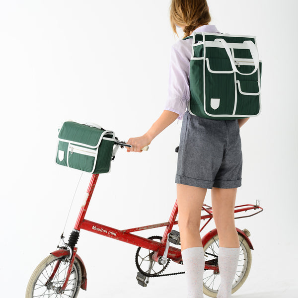 GOODORDERING Market Shopper Bicycle Pannier Bag - Green