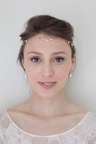 3-in-1 head chain, head wreath, back necklace, choker necklace, multi-function gold and sparkle boho bride bohemian bride