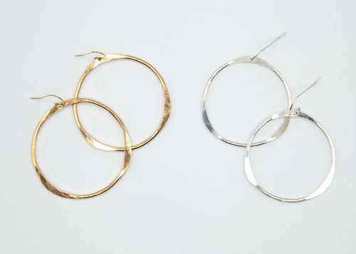 Simple Hammered Hoop Earrings in Sterling silver or 14k gold filled, Unique handmade Hoops, hypoallergenic jewelry