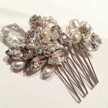 Catherine Bridal Hair comb, Bridal Hair Comb, Freshwater Pearl Hair Comb, Pearl Hair comb, Curved Hair comb, Rhinestone and Crystal Hair comb