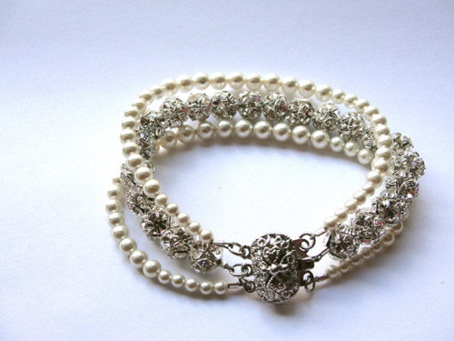 Catherine Pearl Bridal Bracelet, Pearl and Crystal Bracelet, Wedding Bracelet, Simple Bridal Bracelet, Rhinestone and Pearl Bracelet